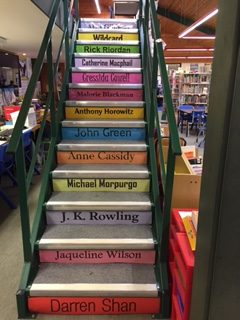 Library stairway with authors
